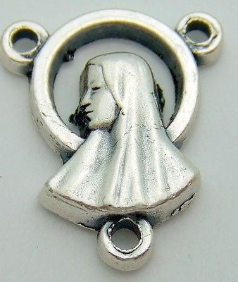 MRT Madonna Profile Holy Rosary Centerpiece Silver Plate Italian Made Gift 1/2""