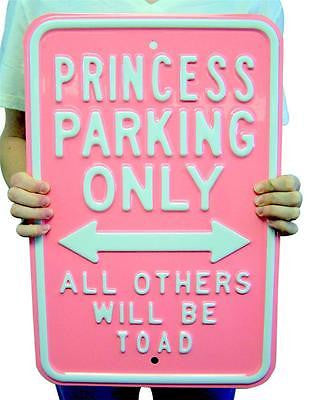 PRINCESS Parking Only All Others Will Toad Large Heavy STEEL Girls Room Sign 20""