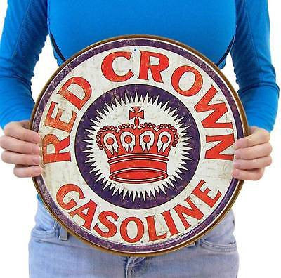 Red Crown Gasoline Retro Gas Oil Tin Sign Vintage Style Home Wall Decor USA 12""