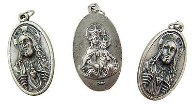MRT Lot Of 3 Sacred Heart & St Mary Two Sided Medal Silver Tone Metal Pendant 1""