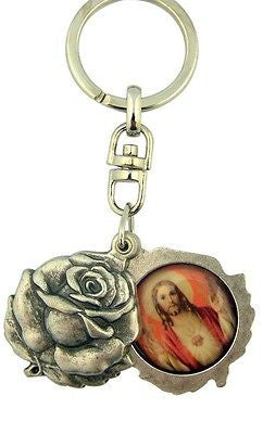 MRT Key Chain Ring Sacred Heart Jesus Immaculate Mary Silver Plate Saint Locket
