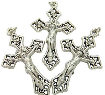 MRT Lot Of 3 Fancy Rosary Crucifix Catholic Cross Pendant Medal Gift Of Italy