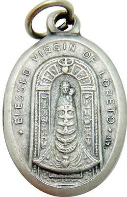 "MRT Our Lady of Loreto Mary Madonna Catholic Medal Silver Plate 3/4"" Italian"