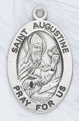 "Sterling Silver 7/8"" Oval St Augustine Medal 20"" with Stainless Steel Chain Boxed"