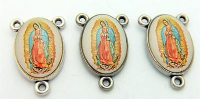 MRT Lot 3 Our Lady Of Guadalupe Rosary Centerpiece En Color Silver Plate Italy