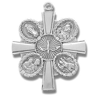 "Sterling Silver 4 Way Cross Scapular Medal with 24"" Chain Boxed Gift by MRT"