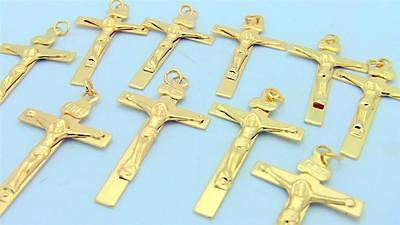 MRT Lot Of 10 Gold Plate Crucifix Pendant Medal Catholic Cross Holy Gift 1 1/4""