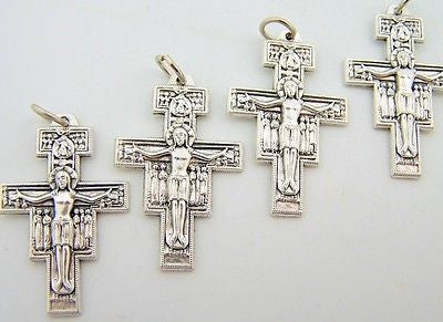 Petite San Damiano Cross W Prayer On Back Religious Chistian Pendant LOT 4