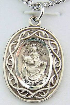 MRT St Christopher Protection Sterling Silver Travel Medal w Chain & Gift Box 1""