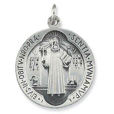 MRT St Benedict Protection Emblem Medal STERLING Silver .925 Pendant w Necklace