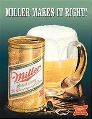 Miller Makes Right Retro Metal Beer Sign Poster Old Bar Pub Decor USA Gift 16""