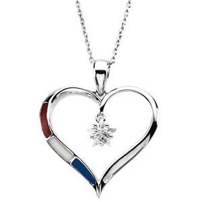 MRT One Nation Womens Honor Heart Sterling Silver Pendant Necklace Military Wife