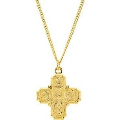 MRT Four Way Medal 24K Gold Over Sterling Silver Catholic Pendant Necklace 1.25""