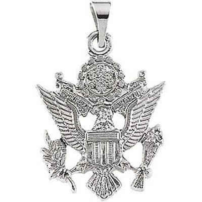 MRT One Nation 14K White Gold US Army Pendant Medal Mens Womens Jewelry 3/4""