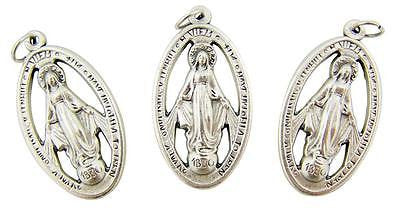 MRT Lot Of 3 Miraculous Mary Pierced Medal Silver Tone Metal Pendant Italian 1""