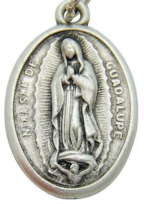 "MRT Our Lady of Guadalupe Catholic Madonna Medal Silver Plate 3/4"" Italian Made"
