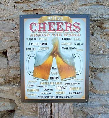 Retro Tin Beer Sign Cheers Around the World Wall Decor Home Pub Bar Gift USA