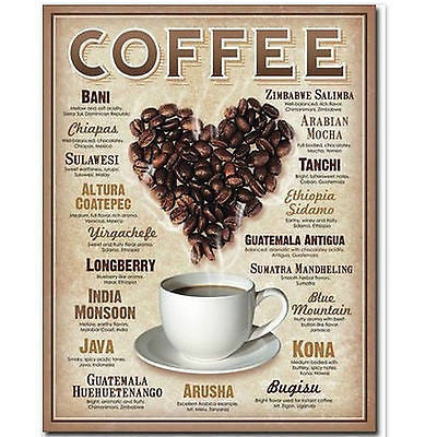Coffee Beans Of The World Tin Cafe Sign Retro Kitchen Home Wall Decor Gift USA