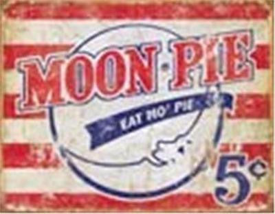 Retro Antique Style Moon Pie Tin Sign Southern Dessert Pies Distressed Decor 16""