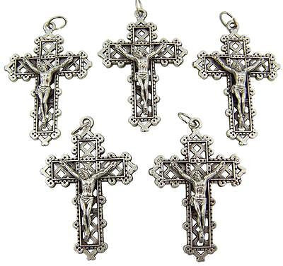 "5 Lot Silver Plate Lattice Crucifix Pendant Catholic Cross Gift 1 1/2"" Italy"