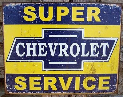 Old Fashioned Chevrolet Service Tin Sign Retro Chevy Ad Man Cave Car Garage USA