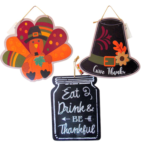 Thanksgiving Wall Plaques Pilgrim & Turkey Home Decorations, Set of 3 Home Decor