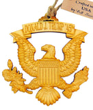 President Donald J. Trump Federal Eagle Wooden Christmas Ornament 3 1/2 Inch Boxed, Made in the USA
