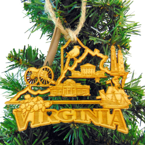 Virginia Christmas Ornament Wooden State Boxed Made in the USA