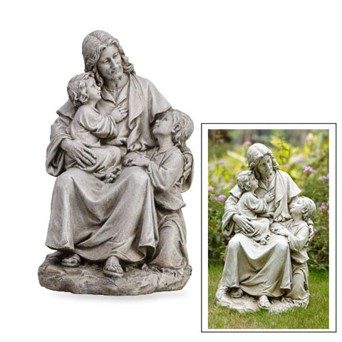 "Jesus with Children Garden Statue Stoneresin 19""H Antique Ivory Finish, Boxed"