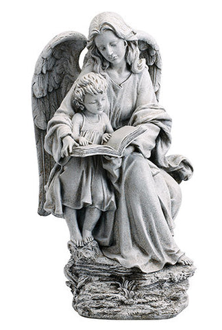"Guardian Angel and Child Garden Statue Home or Church Yard Decor Stoneresin 19""H"