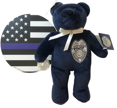 Police Officer Gift Set Plush Bear Stuffed Animal with Thin Blue Line Car Magnet