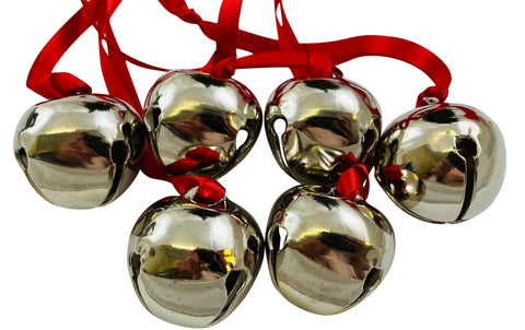 Believe Bell Ornament Bulk Lot Set for Christmas Tree on Ribbon in Red with Bag, Pack of 6