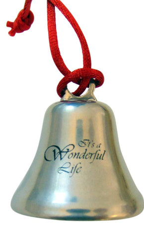 Its A Wonderful Life Christmas Ornament Bell on Ribbon Gift Boxed Movie Souvenir