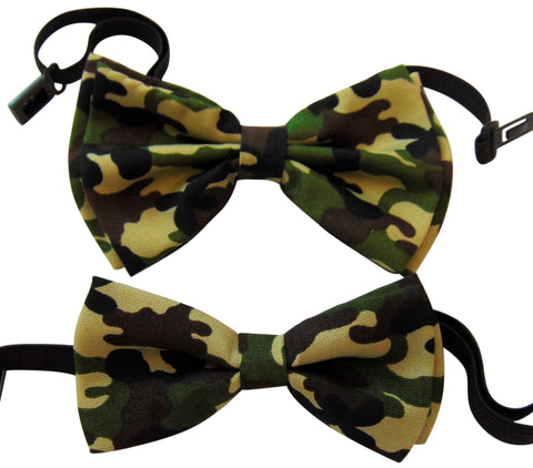 Father and Son Matching Camouflage Bow Tie Set Boxed Two Pack in Army Green Camo