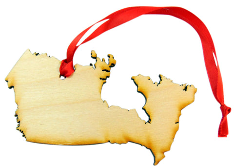 Canada Wooden Country Christmas Ornament Boxed Decoration Handmade in the U.S.A.