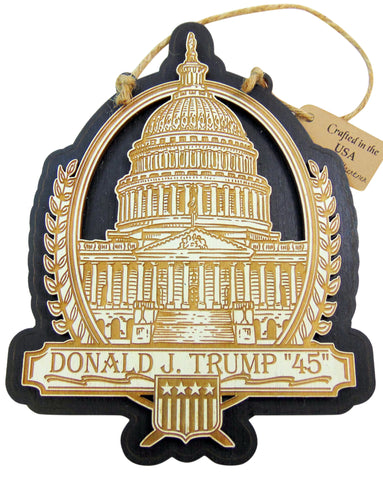 President Donald Trump 45 Wooden Hanging Wall Plaque Made in the USA, 6 Inch