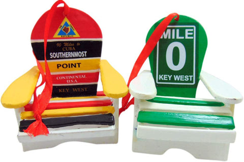 Key West Beach Chair Florida Christmas Ornament Decoration, Set of 2