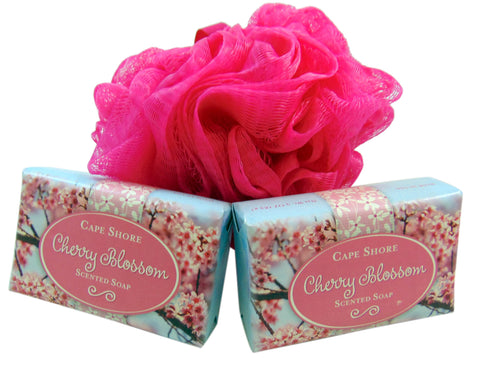 Bath Pouf Sponge & Cherry Blossom Soap Set with Mesh Bag Gift Set