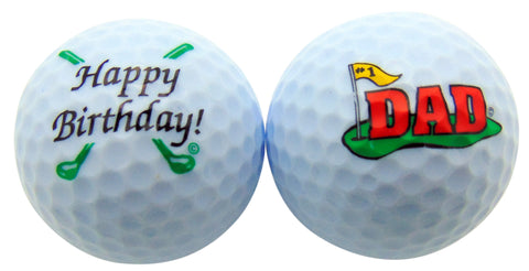 Happy Birthday Dad Golf Ball Set of 2 Golfer Gift Pack