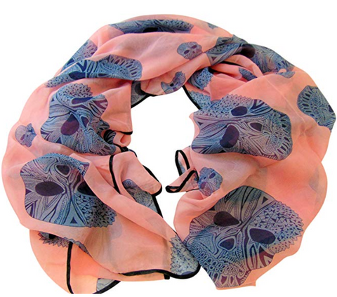 Day of the Dead Ladies Scarf in Pink Lightweight Shawl with Sugar Skull Print