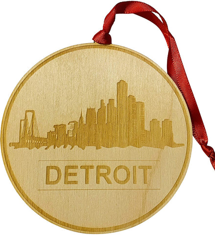 Detroit Michigan Ornament Wooden Motor City Christmas Tree Decoration with Skyline