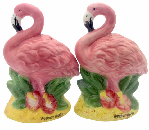 Flamingo Salt and Pepper Shakers Tropical Kitchen Home Decor Ceramic Cellar