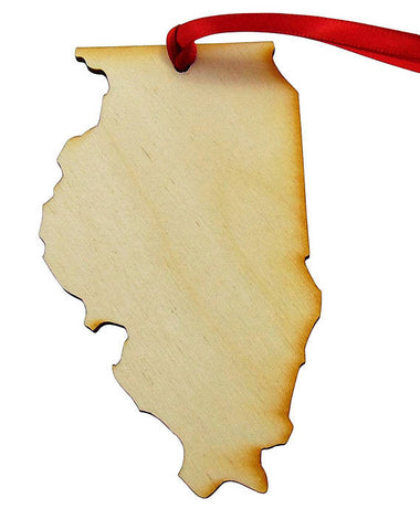 "The State of Illinois Handmade Wooden Christmas Tree Ornament Decoration Gift Boxed 5"" Long Made in the U.S.A."