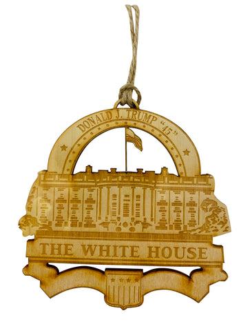 Donald Trump White House Wooden Christmas Ornament 4 Inch Gift Boxed Made in the USA