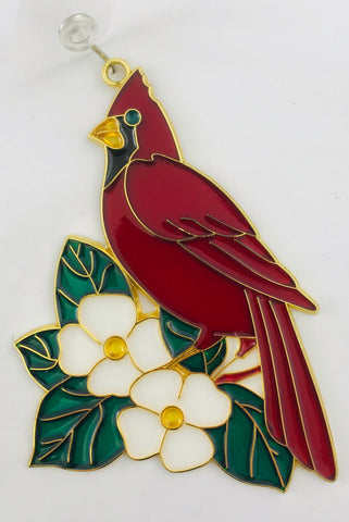 Cardinal Suncatcher Bird and Dogwood Flower Window Ornament Decoration