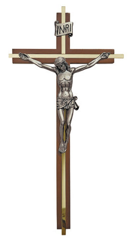 "Walnut Finish Crucifix w/ Gold-Tone Plate Inlay Antique Pewter Corpus 12""H USA"