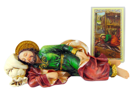 Sleeping St Joseph Statue and Holy Card with Prayer to Saint, 8 Inch