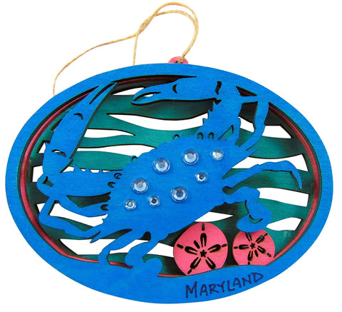 Maryland Crab Ornament Wooden Christmas Tree Decoration 4 1/2 Inch