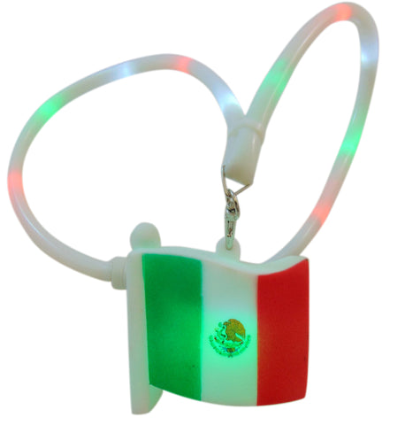 Mexico Lanyard Flashing Light Up Mexican Flag Charm and Necklace
