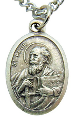 St Paul Apostle of Christ Medal on a 24 Inch Stainless Steel Chain Saint Medal Made in Italy